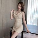 洋裝 2021夏新款深V領低胸不規則顯瘦...
