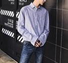 FINDSENSE G6 韓國時尚 百搭細條紋寬鬆長袖襯衫文藝簡約上衣