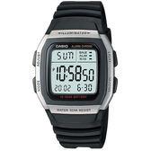 【僾瑪精品】CASIO 城市個性休閒電子錶-銀框/35mm-W-96H-1A