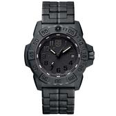 LUMINOX 雷明時NAVY SEAL 3500海豹2代碳纖維鏈帶腕錶-消光黑x黑時標/45mm A3502.BO