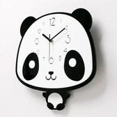 掛鐘 卡通熊貓家用掛鐘可愛鐘表臥室靜音兒童房搖擺現代簡約時尚創意