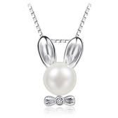 項鍊 925純銀珍珠吊墜-可愛兔子生日情人節禮物女飾品73fy114【時尚巴黎】