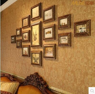 繆斯 歐式照片牆相框牆組合 復古菱形創意相片牆 地中海照片框