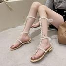 涼鞋女2021新款夏季仙女風粗跟珍珠一字帶夾趾綁帶長筒羅馬鞋高筒