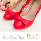 現貨 MIT尖頭鞋中大尺碼新娘婚鞋推薦 幸運女神 蝴蝶結真皮腳墊高跟鞋 23.5-26 EPRIS艾佩絲-經典紅