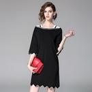 洋裝-中袖針織一字領不規則下擺女連身裙73of16【巴黎精品】