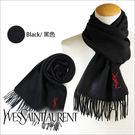 【YSL Yves Saint Laurent】美國正品 YSL 聖羅蘭100%純羊毛圍巾 披肩 黑色紅標