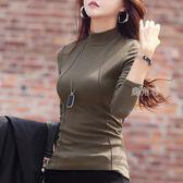 秋冬季加絨加厚半高領棉打底衫女裝長袖新款韓版百搭T恤上衣 鹿角巷