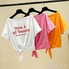 露肩T恤女士短袖2021年夏季新款一字肩短款上衣寬松百搭韓版ins潮 蘿莉新品
