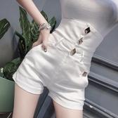 牛仔短褲 超高腰白色褲子女士新款夏季時尚個性緊身顯瘦闊腿 - 巴黎衣櫃