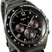 【萬年鐘錶】agnes b. 法式時尚風 紫色三眼計時腕錶 IP鍍黑鋼帶 黑殼 黑面白字43mm 7T12-0AP0T(BW8004P1)