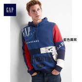 Gap男裝 Logo Remix系列連帽長袖休閒上衣 225941-藍色圖案