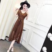 連衣裙女夏2018新款夏季韓版短袖V領收腰開叉中長裙 吊帶裙兩件套