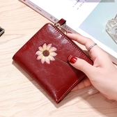短款皮夾 小錢包女短款2020新款韓版簡約小花朵拉鏈搭扣油皮零錢小卡包