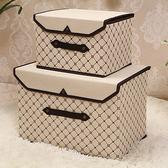 新款韓式可折疊收納箱布藝儲物箱收納盒整理箱裝衣服的箱子無紡布wy