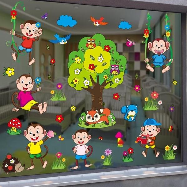 創意幼兒園裝飾窗戶靜電貼