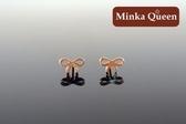 德國鈦鋼玫瑰金色鏤空蝴蝶結 抗敏耳環(一對)(9 mm )