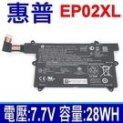 惠普 HP EP02XL 電池 EP02028XL HSTNN-DB9I 電壓 7.7V 容量 28WH