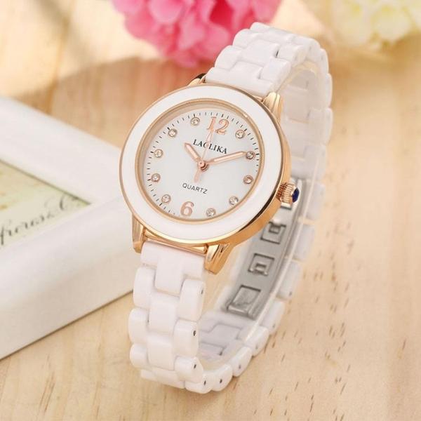 2020新款白色陶瓷手錶女士防水時尚潮流簡約鑲鉆石英表百搭女生表 印象家品
