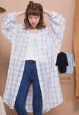 A-SO-BI韓系-雙線大格紋棉麻料長版襯衫洋裝外套【R10001-03】