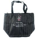小禮堂 Hello Kitty 折疊尼龍環保購物袋 保冷環保袋 保冷提袋 野餐袋 (黑 條紋) 4990270-12992