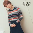 Queen Shop【01070957】配色條紋合身柔軟針織杉 兩色售*現+預*