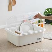 碗筷餐具收納盒碗柜小廚房瀝水碗架帶蓋塑料碗碟架放碗盤子收納箱-享家