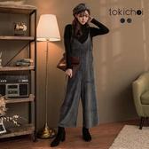 東京著衣-tokichoi-天鵝絨質感細肩帶連身寬褲(172264)
