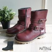 中筒靴 側雙扣帶中筒靴 MA女鞋 T1070