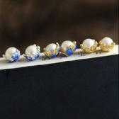 藝術素銀 天然珍珠純銀琺琅釉彩花朵耳釘/設計家
