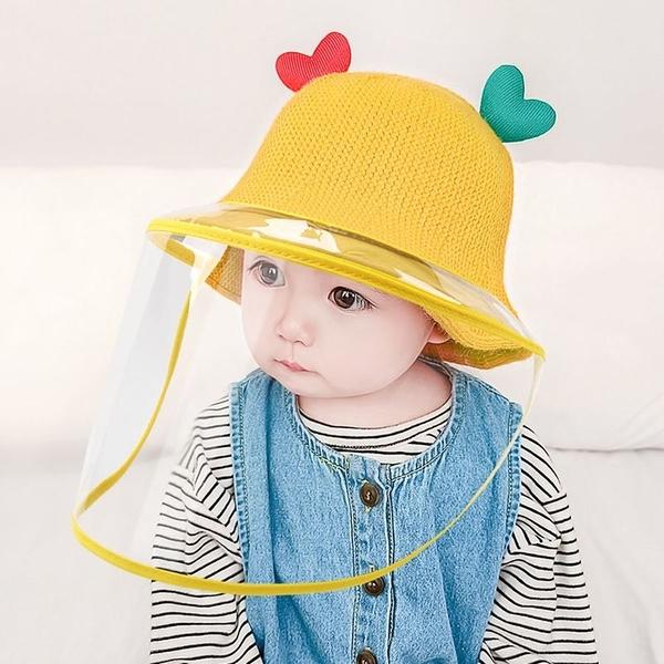 漂亮小媽咪 韓系 愛心 微笑 漁夫帽 防飛沫 防疫 面罩 防疫帽【BW2990】 寶寶 盆帽 遮陽 防曬 兒童帽