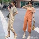 吊帶褲~網紅兩件套吊帶褲套裝女夏可愛日系小個子洋氣減齡寬鬆九分連身褲