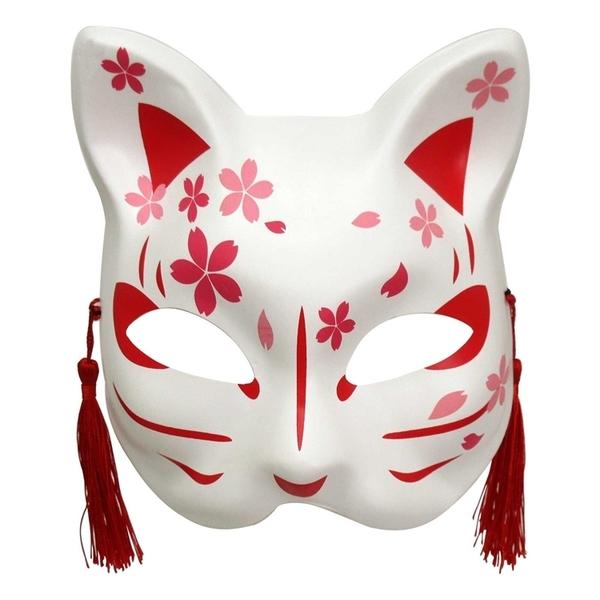 耀您館 日本和風全臉狐面具/半臉貓面具3345鬼滅の刃貓咪鬼滅之刃狐狸面具適化妝舞會角色扮演