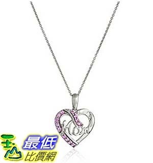 [美國直購] Sterling Silver Created Sapphire Heart Mom Pendant Necklace, 18 項鍊