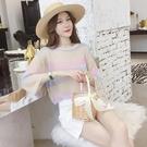 防曬衣 防曬衣女夏季新款正韓寬鬆冰絲針織上衣鏤空罩衫薄款百搭外套-Ballet朵朵