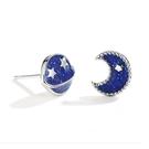 925純銀 不對稱寶藍星球月亮宇宙 耳環耳釘針-銀 防抗過敏