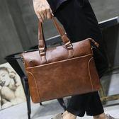 瘋馬皮男士潮流手提包韓版公文包側背包青年休閒單肩包男  卡布奇諾
