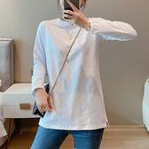 長袖上衣 打底衫 長袖T恤白色長袖t恤女寬松百搭襯衫袖疊穿上衣純棉打底衫女T305 胖妹大碼女裝