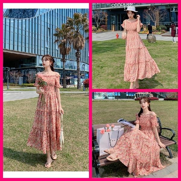 洋裝 渡假風小碎花一字領連身長裙 共1色 S-XL 依二衣