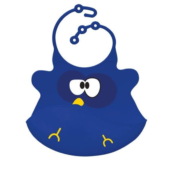 圍兜 口水巾 美國ulubulu 矽膠立體圍兜 - 藍色貓頭鷹款 2-09-1-S-1-013