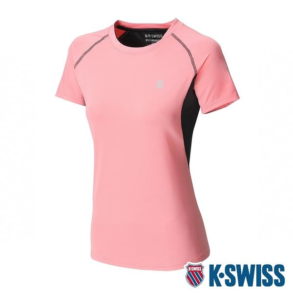 K-SWISS Reflective Logo Tee W/Mesh排汗T恤-女-粉橘