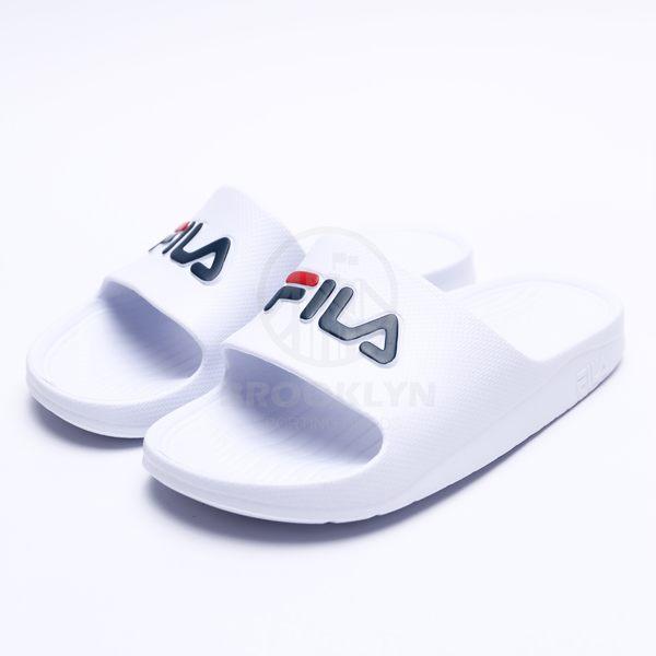 FILA 白底 紅深藍 英文LOGO 基本款 防水 拖鞋 男女 (布魯克林) 2019/3月 4S355Q113