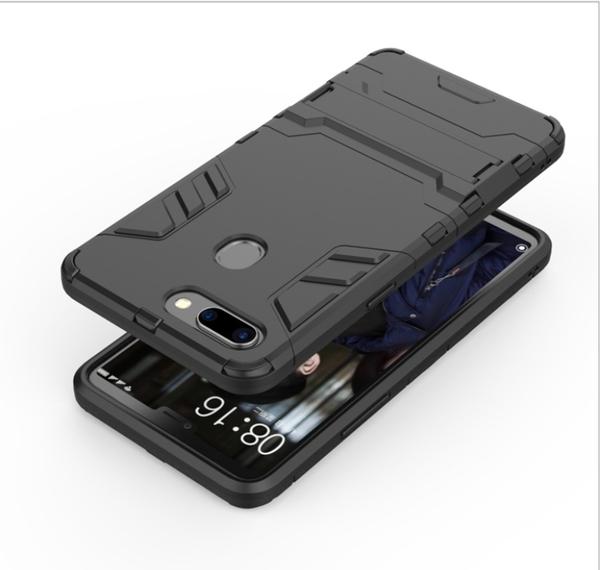 King*Shop-----OPPO R15標準版 鋼鐵俠鎧甲防摔套 R15 二合一支架手機殼