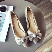 大碼低跟 女鞋蝴蝶結布面淺口尖頭中跟女單鞋35-41 - 古梵希鞋包