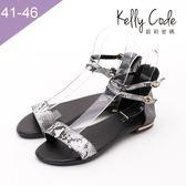 大尺碼女鞋-凱莉密碼-時尚性感蛇紋革真皮寬版平底涼鞋2cm(41-46)【YGM2031】黑色