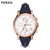 FOSSIL Original Boyfriend 藍色皮革計時手錶 女 ES3838