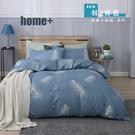 【BEST寢飾】雲絲絨 鋪棉兩用被床包組 單人 雙人 加大 特大 均一價 羽之翼-藍 舒柔棉 台灣製造