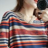 針織長袖 新款棉麻韓版女長袖秋裝寬鬆條紋時尚內搭薄款針織上衣打底衫  維多