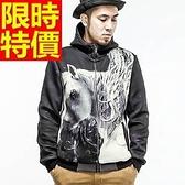 夾克外套 太空棉-經典馬頭圖案潮流男連帽外套65ac22[巴黎精品]