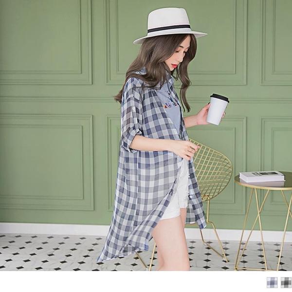 《AB6641-》配色格紋袖反褶長版雪紡襯衫/罩衫 OB嚴選